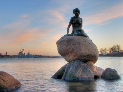 The Little Mermaid statue in Copenhagen Harbor, Denmark