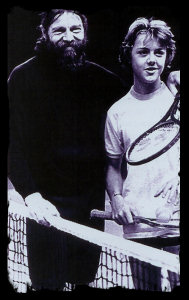 Tennis prodigy, Lars Ulrich (right) with his Danish father Torben, who was the Top Senior Player in the world in 1976.