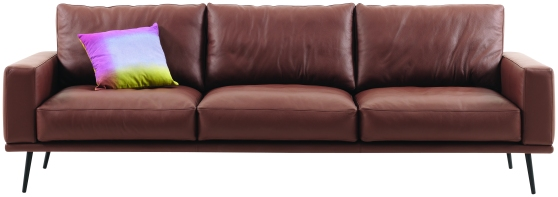 The Carlton sofa in a rich brown leather.