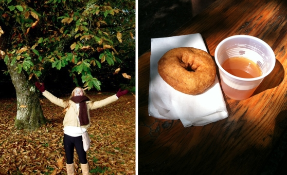 Tossing some leaves in Cork, Ireland and delicious Fall treats from the Franklin Mill near my hometown in Michigan!